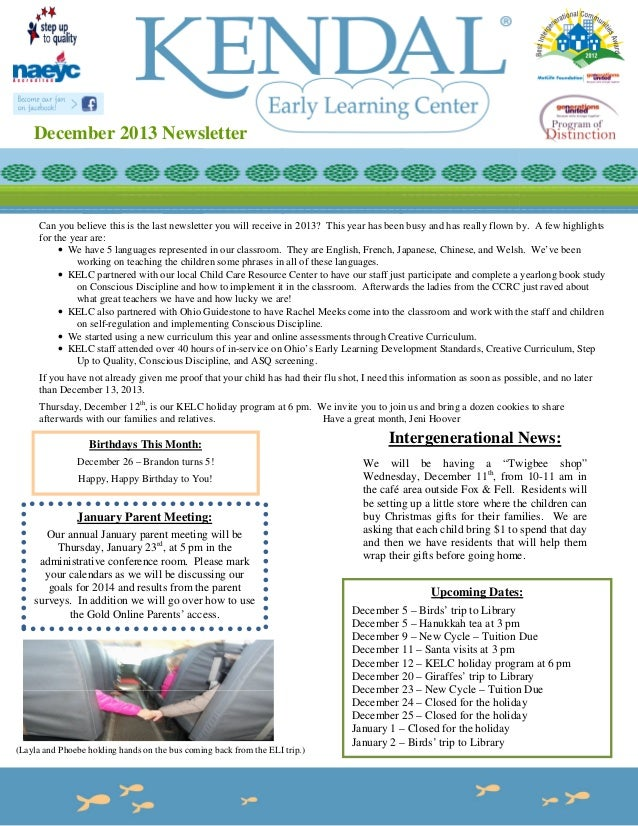 December 2013 Newsletter  Can you believe this is the last newsletter you will receive in 2013? This year has been busy an...