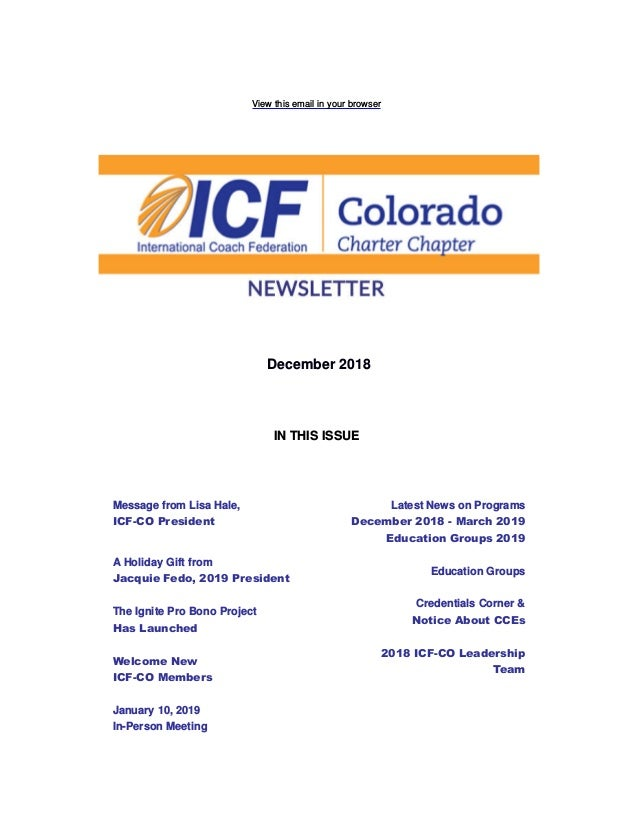 View this email in your browser December 2018 IN THIS ISSUE Message from Lisa Hale, ICF-CO President A Holiday Gift from J...