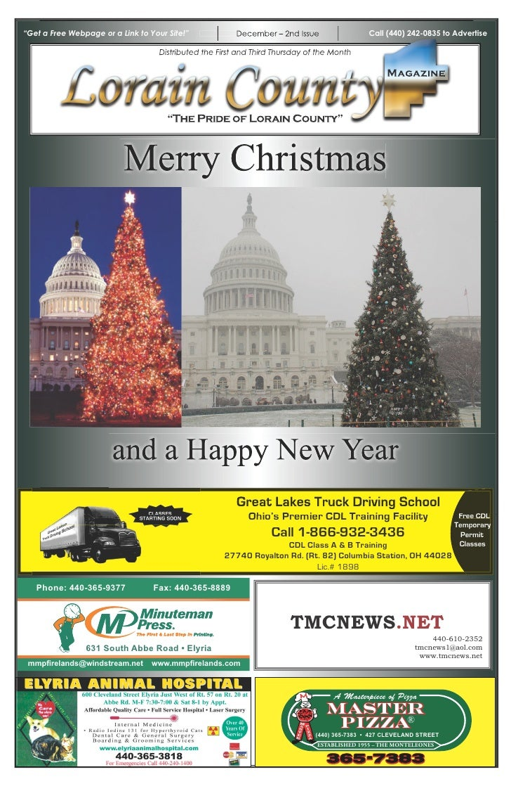 """""""Get a Free Webpage or a Link to Your Site!""""             December – 2nd Issue                 Call (440) 242-0835 to Adver..."""
