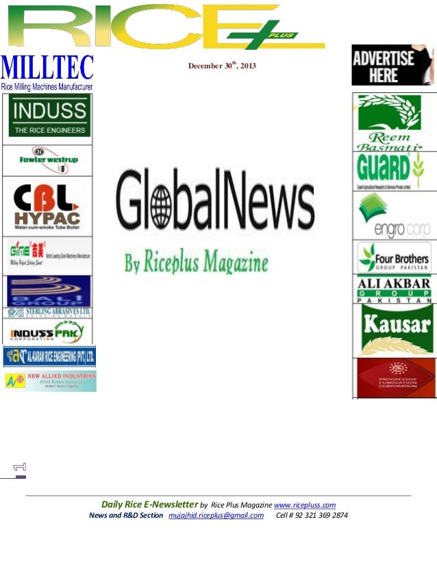 December 30th, 2013  Daily Rice E-Newsletter by Rice Plus Magazine www.ricepluss.com News and R&D Section mujajhid.riceplu...