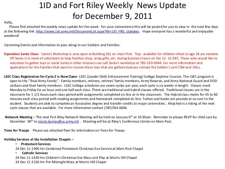 1ID and Fort Riley Weekly News Update                               for December 9, 2011Hello,    Please find attached the...