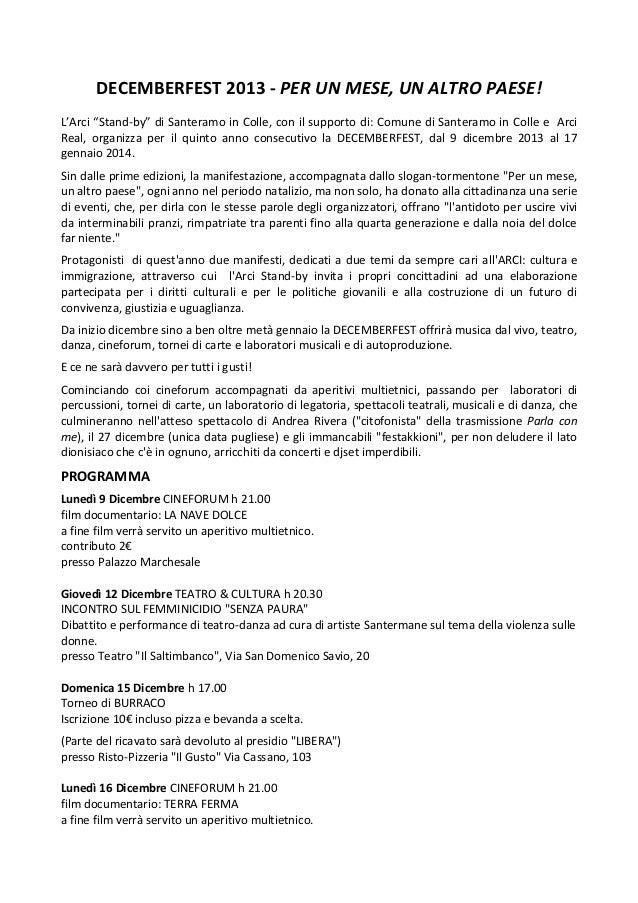 """DECEMBERFEST 2013 - PER UN MESE, UN ALTRO PAESE! L'Arci """"Stand-by"""" di Santeramo in Colle, con il supporto di: Comune di Sa..."""