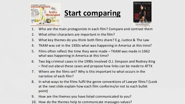Start comparing 1. Who are the main protagonists in each film? Compare and contrast them 2. What other characters are impo...
