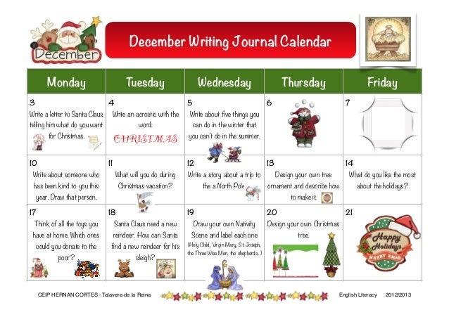Calendar Activities For Elementary Students : December journal activities
