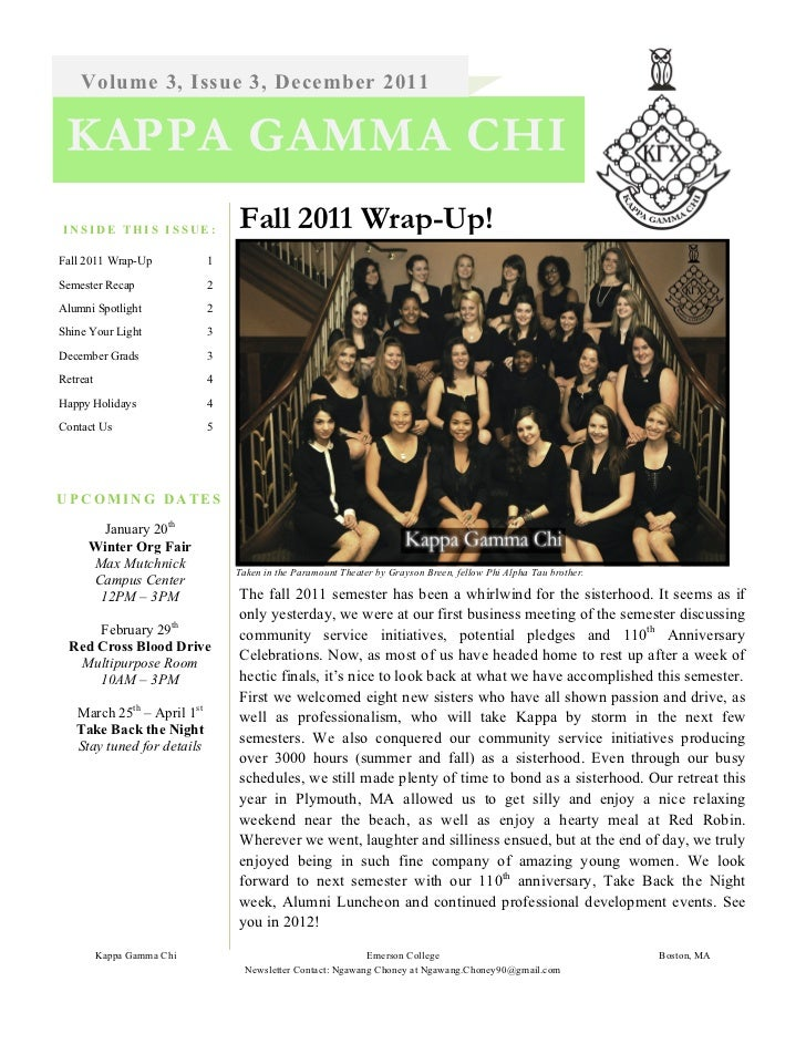 Volume 3, Issue 3, December 2011 KAPPA GAMMA CHIINSIDE THIS ISSUE:              Fall 2011 Wrap-Up!Fall 2011 Wrap-Up       ...