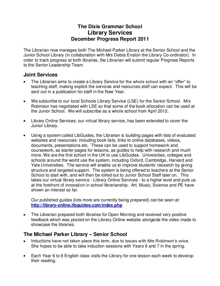 The Dixie Grammar School                                   Library Services                          December Progress Rep...