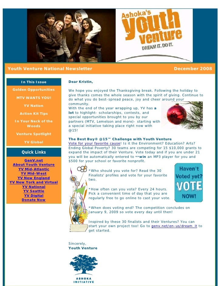 Youth Venture National Newsletter                                                    December 2008       In This Issue    ...