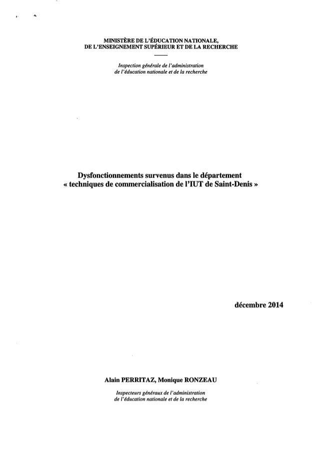 Université Paris XIII, IUT: rapport de l'IGAENR sur les dysfonctionnements