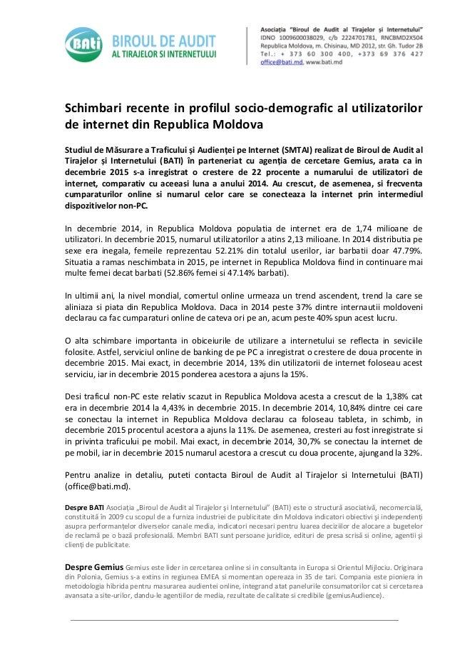 Schimbari recente in profilul socio-demografic al utilizatorilor de internet din Republica Moldova Studiul de Măsurare a T...