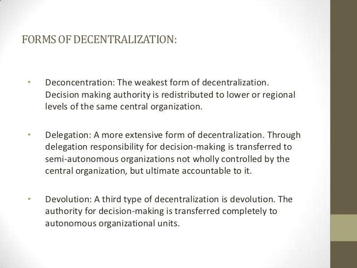 delegation and decentralization of organization structure