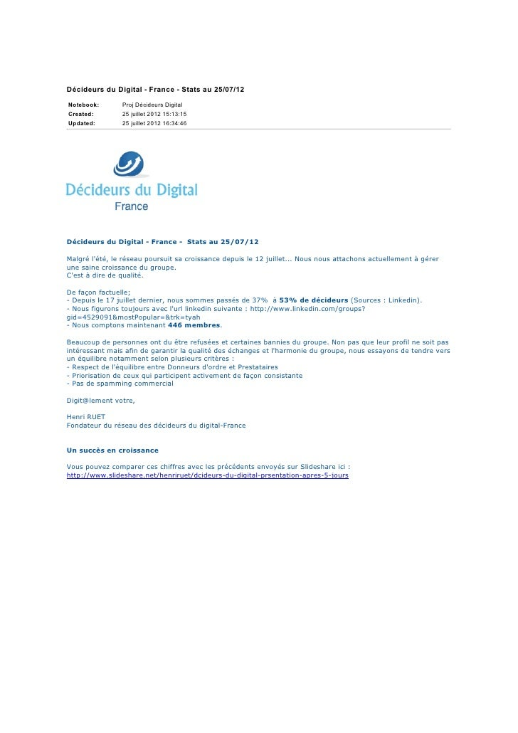Décideurs du Digital - France - Stats au 25/07/12Notebook:       Proj Décideurs DigitalCreated:        25 juillet 2012 15:...