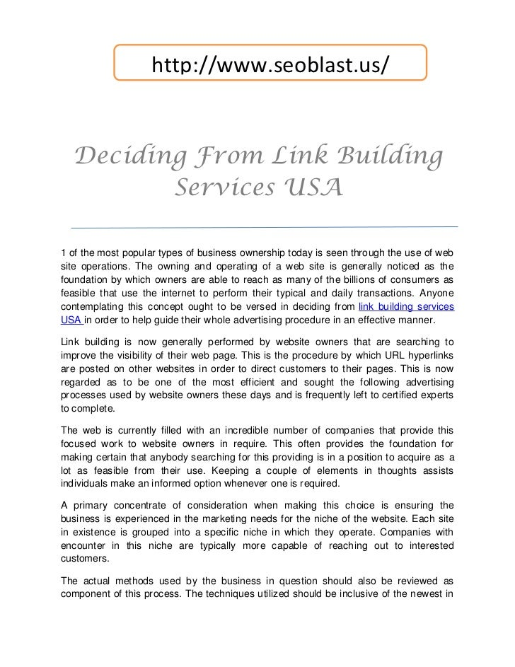 http://www.seoblast.us/  Deciding From Link Building         Services USA1 of the most popular types of business ownership...