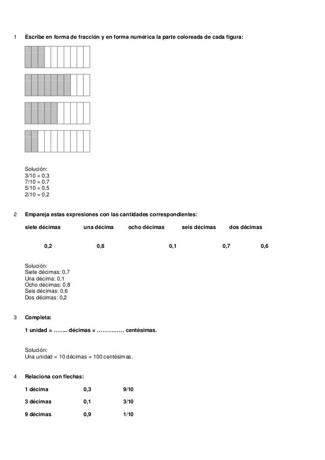 1   Escribe en forma de fracción y en forma numérica la parte coloreada de cada figura:    Solución:    3/10 = 0,3    7/10...