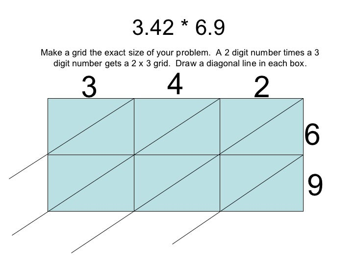 Number Names Worksheets multiplication of three digit numbers : Decimal lattice multiplication