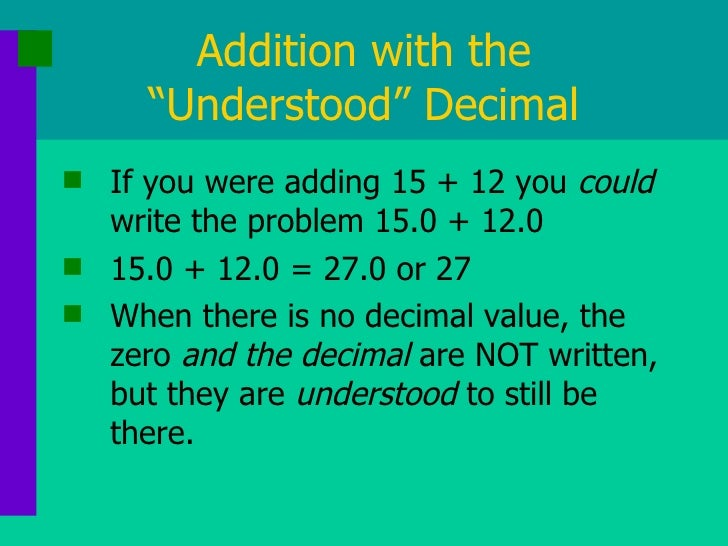 how to add and subtract decimals with a whole number