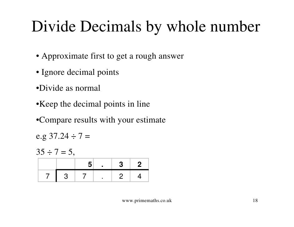How To Divide Decimal Numbers By Whole Numbers - Proletariatblog