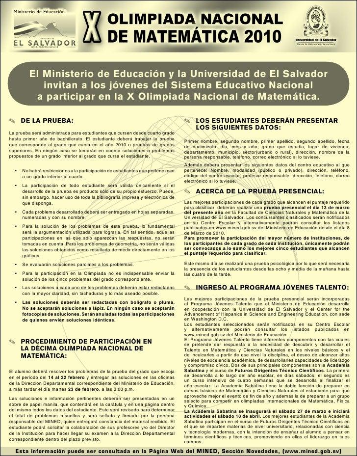 Ministerio de Educación              El Ministerio de Educación y la Universidad de El Salvador             invitan a los ...