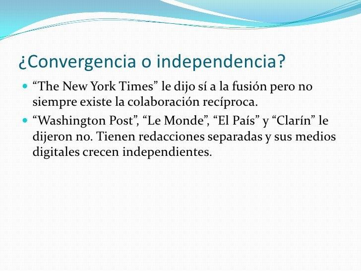 """¿Convergencia o independencia?<br />""""The New York Times"""" le dijo sí a la fusión pero no siempre existe la colaboración rec..."""