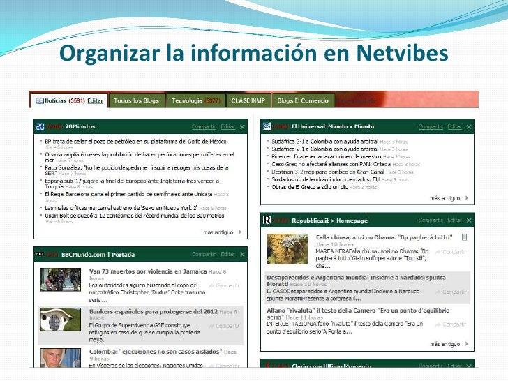 Organizar la información en Netvibes<br />