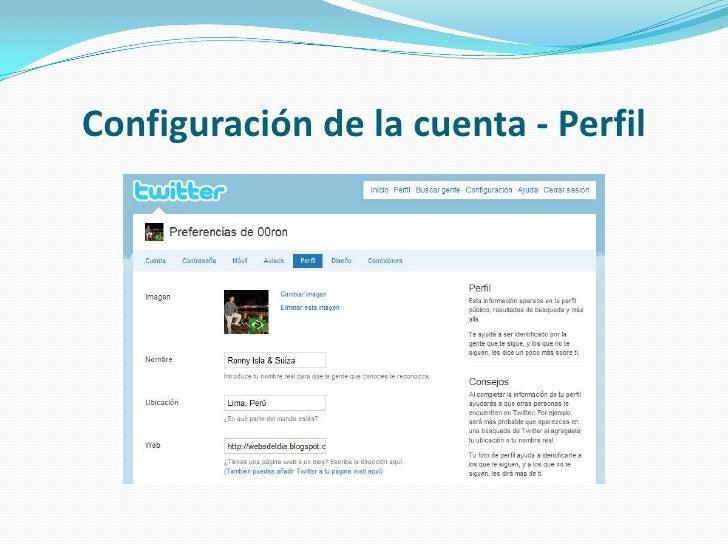 Configuración de la cuenta - Perfil<br />