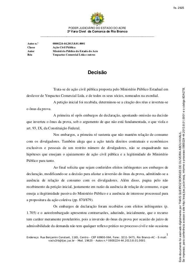 PODER JUDICIÁRIO DO ESTADO DO ACRE 2ª Vara Cível da Comarca de Rio Branco ________________________________________________...