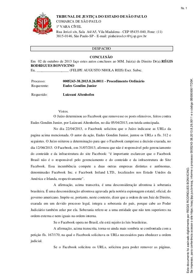 TRIBUNAL DE JUSTIÇA DO ESTADO DE SÃO PAULO COMARCA DE SÃO PAULO 1ª VARA CÍVEL Rua Jericó s/n, Sala A4/A5, Vila Madalena - ...