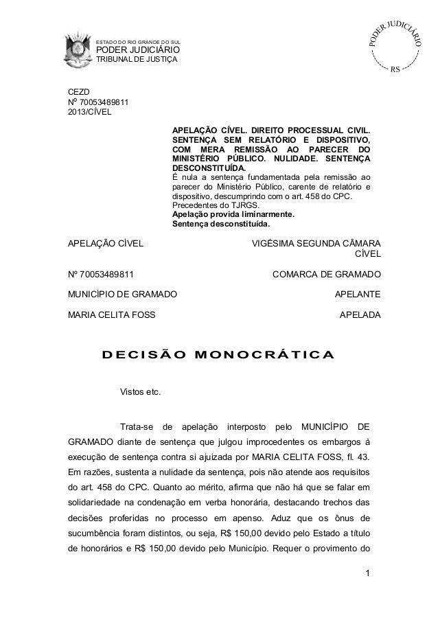 ESTADO DO RIO GRANDE DO SUL      PODER JUDICIÁRIO      TRIBUNAL DE JUSTIÇACEZDNº 700534898112013/CÍVEL                    ...