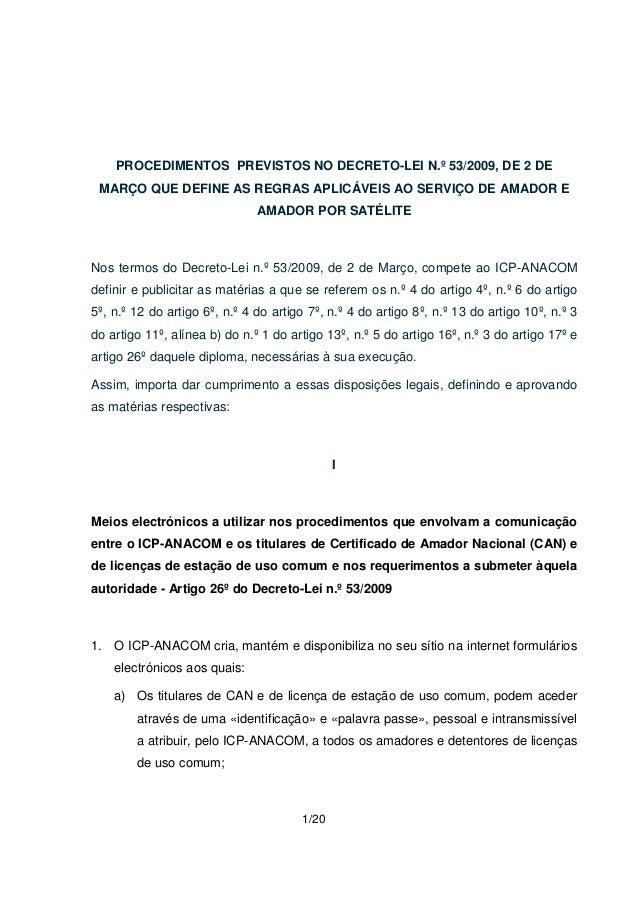 PROCEDIMENTOS PREVISTOS NO DECRETO-LEI N.º 53/2009, DE 2 DE  MARÇO QUE DEFINE AS REGRAS APLICÁVEIS AO SERVIÇO DE AMADOR E ...