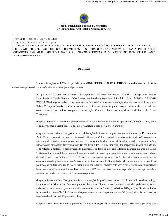 Seção Judiciária do Estado de Rondônia 5ª Vara Federal Ambiental e Agrária da SJRO PROCESSO: 1000878-63.2017.4.01.4100 CLA...