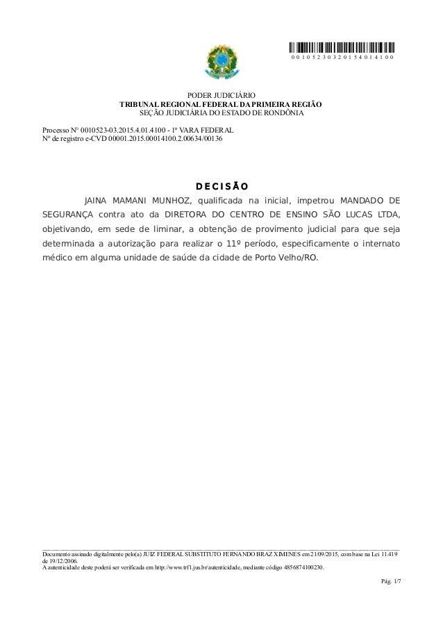0 0 1 0 5 2 3 0 3 2 0 1 5 4 0 1 4 1 0 0 PODER JUDICIÁRIO TRIBUNAL REGIONAL FEDERAL DA PRIMEIRA REGIÃO SEÇÃO JUDICIÁRIA DO ...