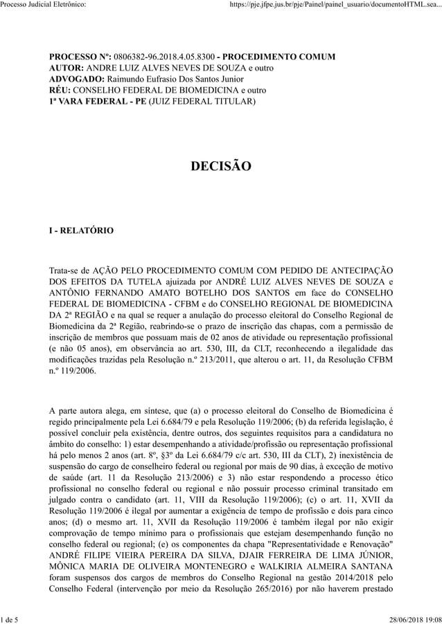 PROCESSO N�: 0806382-96.2018.4.05.8300 - PROCEDIMENTO COMUM AUTOR: ANDRE LUIZ ALVES NEVES DE SOUZA e outro ADVOGADO: Raimu...