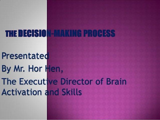 Presentated By Mr. Hor Hen, The Executive Director of Brain Activation and Skills