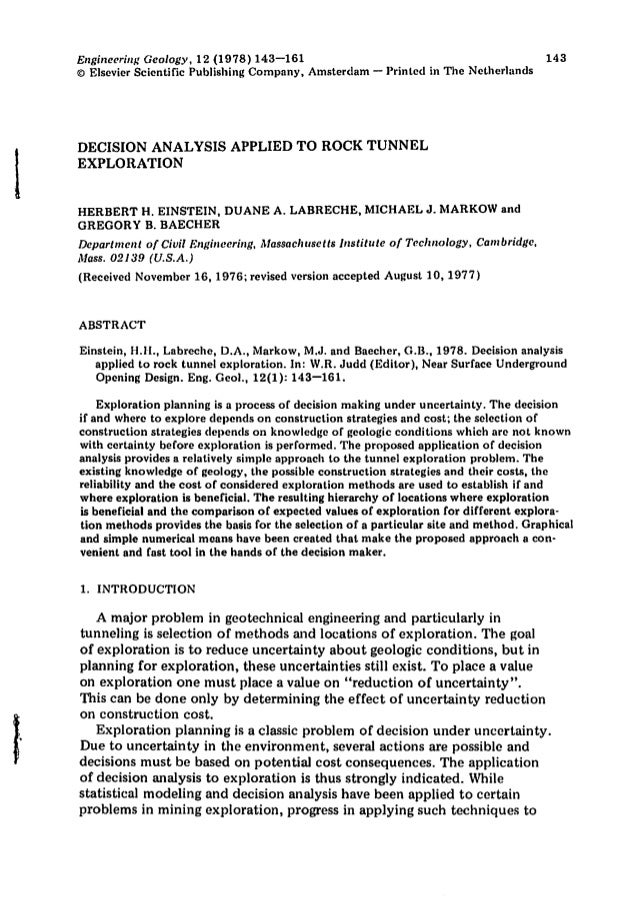 Engineering Geology, 12 (1978) 143-161 CD Elsevier Scientific Publishing Company, Amsterdam - Printed in The Nctherlllnds ...