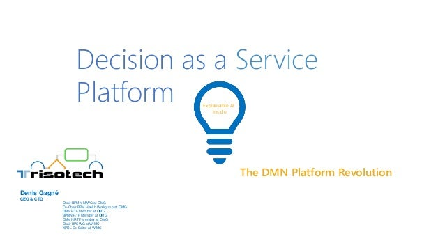 The DMN Platform Revolution Explainable AI Inside Decision as a Service Platform Chair BPMN MIWG at OMG Co-Chair BPM Healt...