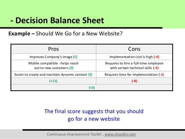 pros and cons sheet