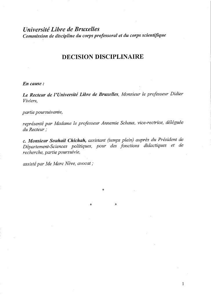 La décision disciplinaire à l'encontre de Souhail Chichah
