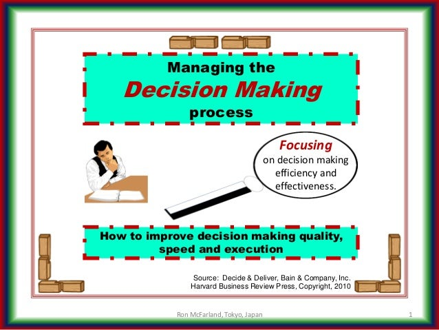 How to improve decision making quality, speed and execution Managing the Decision Making process 1 Source: Decide & Delive...