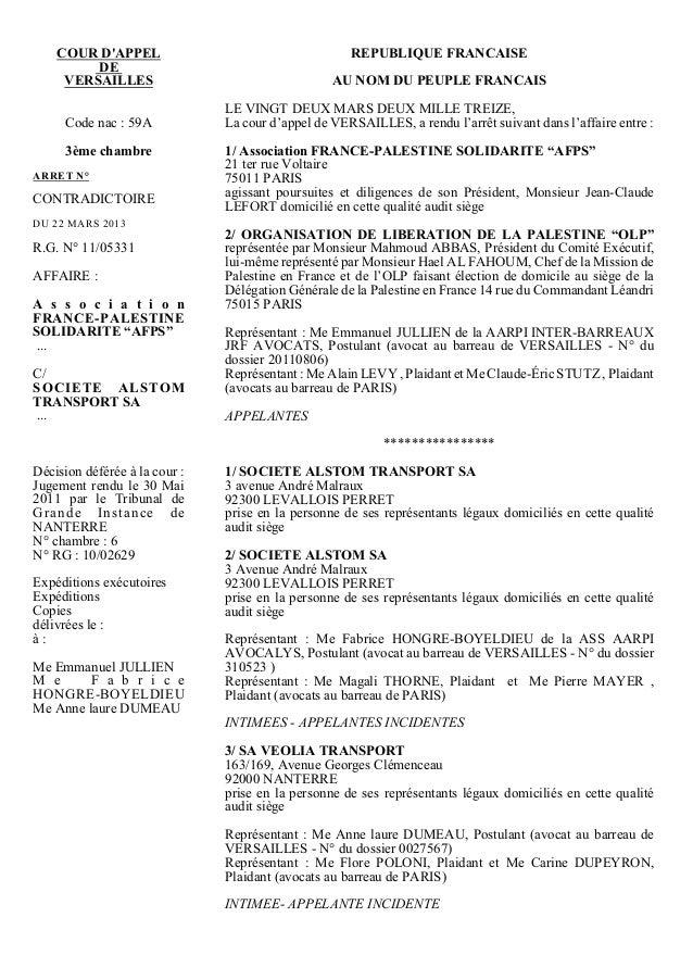 COUR DAPPEL                                     REPUBLIQUE FRANCAISE         DE     VERSAILLES                            ...