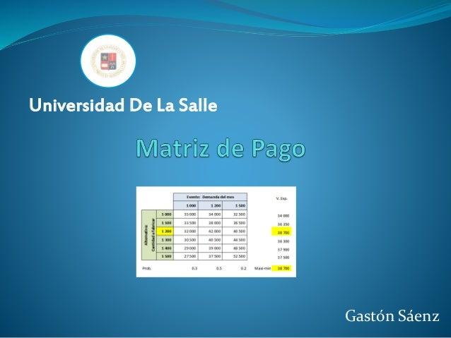 Gastón Sáenz Universidad De La Salle