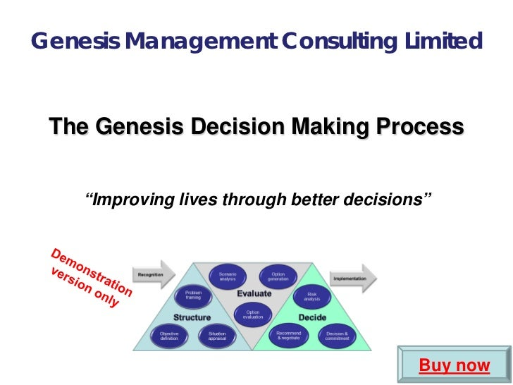 "Genesis Management Consulting Limited The Genesis Decision Making Process    ""Improving lives through better decisions""   ..."