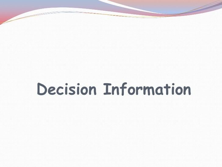 Decision Information