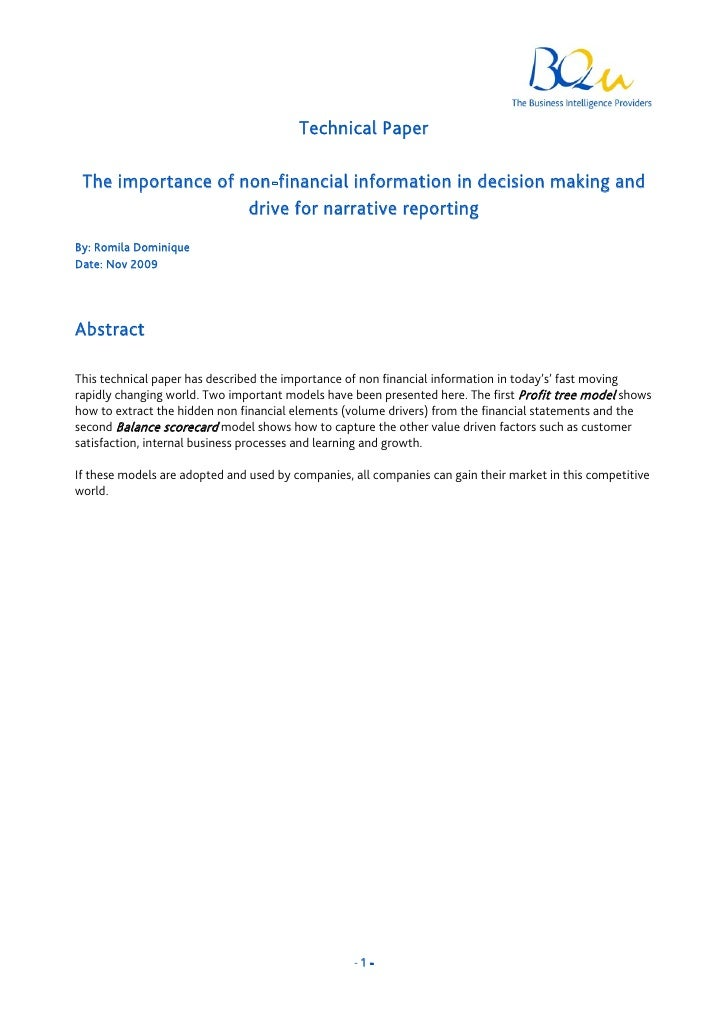 Technical Paper   The importance of non-financial information in decision making and                     drive for narrati...