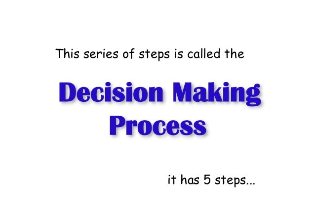 Decision Making Process This series of steps is called the it has 5 steps...