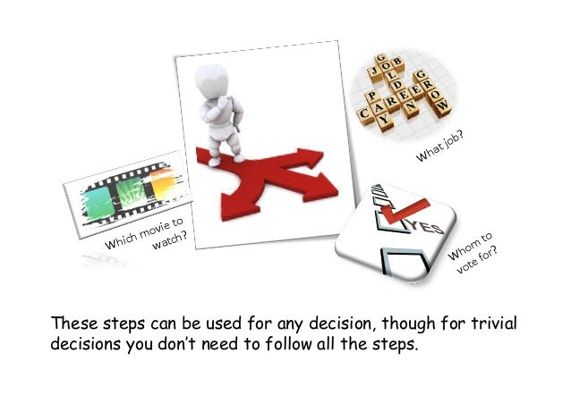 These steps can be used for any decision, though for trivial decisions you don't need to follow all the steps.
