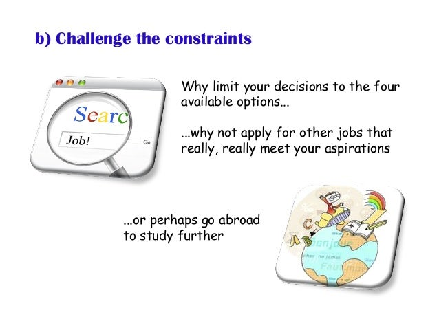 b) Challenge the constraints Why limit your decisions to the four available options... ...why not apply for other jobs tha...