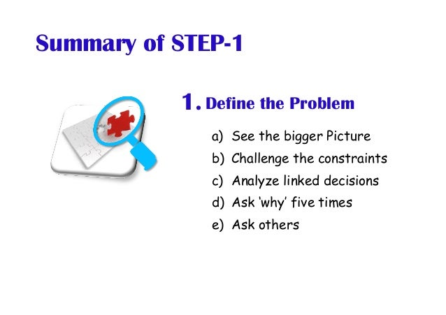Define the Problem1. a) See the bigger Picture b) Challenge the constraints c) Analyze linked decisions d) Ask 'why' f...