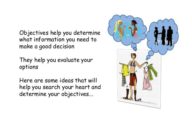 Objectives help you determine what information you need to make a good decision They help you evaluate your options Here a...