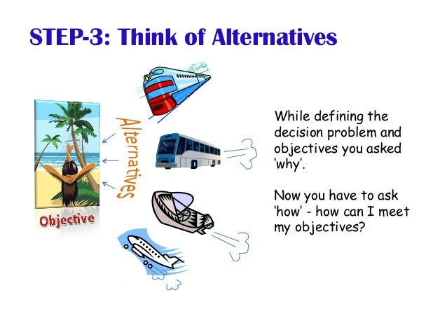 STEP-3: Think of Alternatives While defining the decision problem and objectives you asked 'why'. Now you have to ask 'how...