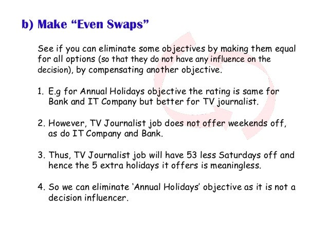 """b) Make """"Even Swaps"""" See if you can eliminate some objectives by making them equal for all options (so that they do not ha..."""