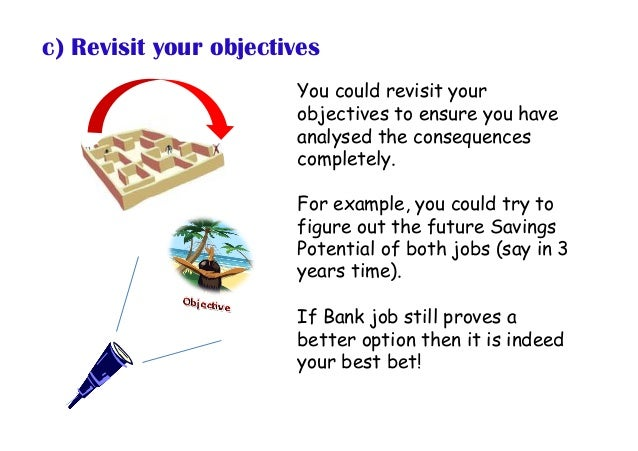 You could revisit your objectives to ensure you have analysed the consequences completely. For example, you could try to f...